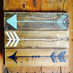 This is an awesome decorative sign set for your home, office, or dorm room! I hand painted these three reclaimed wood signs then sanded,