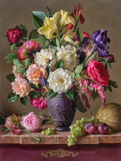 Still life - artist Grace Kim Victorian Flowers, Vintage Flowers, Flower Vases, Flower Art, Still Life Flowers, Painting Still Life, Arte Floral, Ikebana, Botanical Prints