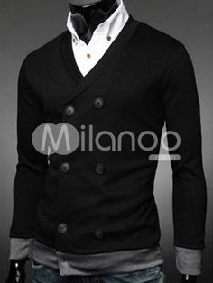 A perfect match between a white shirt and a buttoned black sweater.