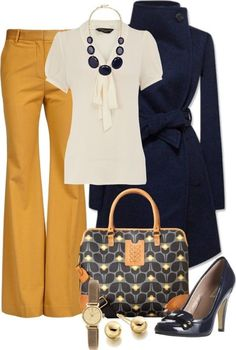 White Short Sleeve Blouse, Mustard Slacks, Black Trench, Black Pumps, Black/Mustard Purse.