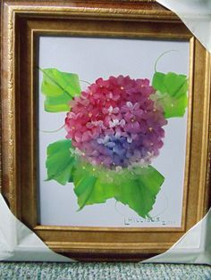 Hydrangia Oil Painting with Gold Frame by LinsFinalTouch on Etsy