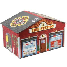 Personalised Tri-Coastal Design Fire Station House Storage Box  from Personalised Gifts Shop - ONLY £34.99