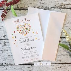 Fall in Love, Bridal Shower Invitation by DesignbyKristinLynn #designbykristinlynn #fallbridalsower #fallinlove #bridalshowerinvitation #fallshower #fallinvitation #fallinloveinvitation