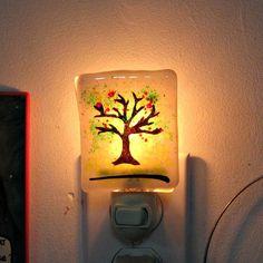 Fused Glass Night Light  Tree Night Light by Chris1 on Etsy, $23.00