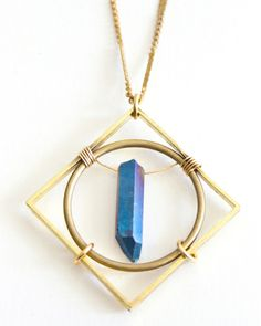 Cobalt Crystal Circle Squared Necklace