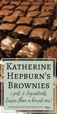 Katherine Hepburn Brownie's - the BEST prize winning brownies easier than a mix. - My Mama Taught Me