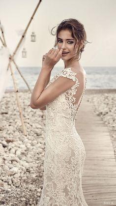 eddy k bridal 2017 cap sleeves vneck sheath lace wedding dress (aires) zv elegant romantic