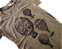 Hot Air Balloon T-Shirt - Vintage Balloons Blended Ladies Shirt - (Available in sizes S, M, L, XL)