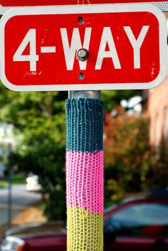Gee, I wonder if I can crochet on that?  A good sign that yarn bombs are catching on!