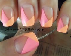 bright angled french tip | this is quite interesting.. i like it a lot actually