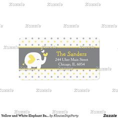 Yellow and White Elephant Baby Shower Label