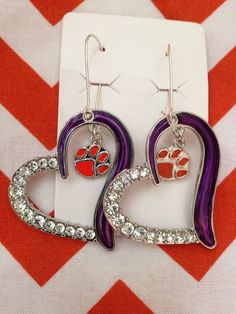 Clemson Tigers Heart & Dangling Tiger Paw Earrings - Clear Rhinestones - Purple Silver Orange - Women's Jewelry on Etsy, $24.99