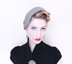 1950s Hat /VINTAGE/ 50s Hat / Grey / Felted Wool by HighHatCouture