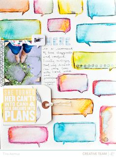 fun fun fun use of the speech bubble mask (could try with die-cut bgs too). Kunstjournal Inspiration, Art Journal Inspiration, Journal Ideas, Smash Book, Scrapbooking Layouts, Scrapbook Pages, Art Journal Pages, Art Journals, Collage
