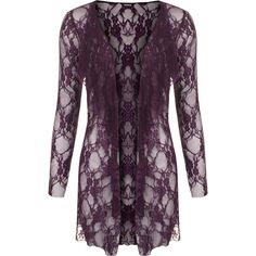 Laurine Floral Lace Open Cardigan ($29) ❤ liked on Polyvore featuring tops, cardigans, plus size, purple, plus size purple cardigan, long sleeve cardigan, floral cardigan, lace tops and layering cardigans