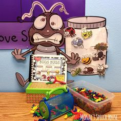 BUGS  Speech Therapy Interactive books, posters, Game Boards - This resource will help your preschool, Kindergarten, or 1st grade classroom students. They will get to work on receptive & expressive language skills, following directions, matching, and much more! You get vocabulary or memory boards and coloring pages too. Get them now! {preK, Kinder, first grades - speech therapy}