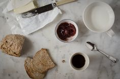For breakfast I usually have toasted homemade bread with butter, jam, milk and coffee. Food Pictures, Toast, Milk, Butter, Bread, Cheese, Homemade, Coffee, Breakfast
