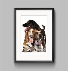 #Caninecaricatures are a funny and affordable alternative to the traditional #petportait . #dogart rules!