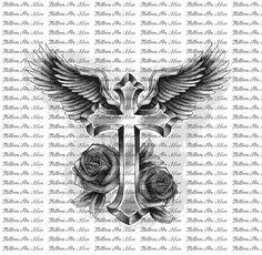 Winged Gothic Cross Tattoo Design photo - 4
