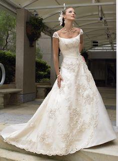 A-line Off-the -shoulder Lace- applique Sweetheart Empire Floor-length Sweep-train Chapel train #Wedding Dresses_2017