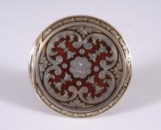 RED CHAMPLEVÉ AND STERLING AUSTRIAN COMPACT : Lot 325