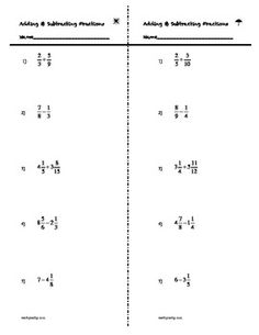 Subtracting mixed numbers | Middle School Practicum | Pinterest ...
