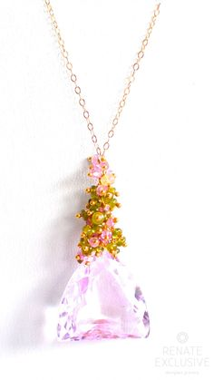 "Luxe Petal Pink Kunzite Necklace ""Blossom"" - Handmade Jewelry - Renate Exclusive - 1"