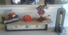 Primitive Crackle Harvest Wall Gathering Shelf Stars Candles Country Decor