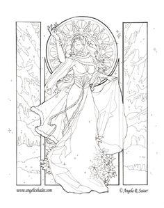 Lady Snowflake Line Art by =AngelaSasser on deviantART