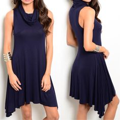This+Fall+Romance+Dress+features+sleeveless+jersey+knit+material,+a+trapeze+silhouette+and+cowl+neckline.+