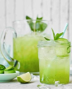 This refreshing cooler makes the perfect non-alcoholic drink for a hot summer day. Mint-infused cucumber juice is topped up with fragrant elderflower cordial, punchy lime and soda water, and finished off with elegant strips of cucumber and fresh mint sprigs. | Tesco