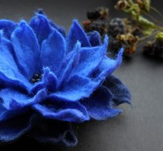 Indigo Blackberry Felt Flower Brooch Handmade to Order by Brigite, $29.00