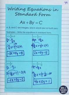 Writing Equations of Lines in Standard Form Interactive Notebook Page pleased macrocosm Gcse Math, Math Tutor, Teaching Math, Math Math, Math Games, Math Activities, Math Lesson Plans, Math Lessons, Algebra Interactive Notebooks