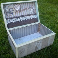7 largest wooden box, decorated with scrapbook paper, acrylic paints, fabric and metal ornaments, scrapart