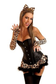black 4 pc sexy leopard costume amiclubwear costume online storesexy costumewomens - Halloween Supply Store