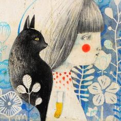 Art And Illustration, Illustration Inspiration, Arte Popular, Cat Art, Art Inspo, Painting & Drawing, Collages, Folk Art, Graphic Art