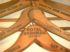 Vintage Wooden Hotel Coat Hangers