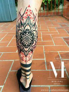 Best Geometric Tattoos And Symbolism Body Art Tattoos, Tribal Tattoos, Hand Tattoos, Geometric Tattoo Design, Mandala Tattoo Design, Leg Tattoo Men, Calf Tattoo, Tattoo Designs Foot, Tatoo Art