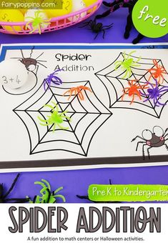 These FREE spider addition activities help kids learn to solve sums up to ten. There's an option to add extra sums too if needed. They're a fun addition to Halloween math centers in Pre-K, Kindergarten or First Grade. #additionactivities #spideractivities #halloweenactivities #bugactivities #prekmath #kindergartenmath #freehalloweenactivities #halloweencenter