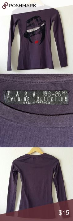 Zara Evening Collection purple long sleeve tee Zara Evening Collection purple tee with faux velvet and rhinestones graphic. Fabric is slightly stretchy. In good condition. Size is small. Zara Tops Tees - Long Sleeve