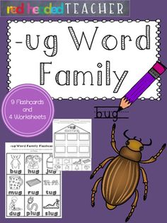 This packet is 5 pages for the -ug Word Family;*Flashcards for students to take home, color, and practice reading*Beginning sounds*Alphabetical Order*Word Family Identification (cut and paste)*Word Family Identification (coloring)