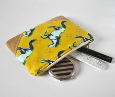 Woman's horse stallion navy aqua blue gold glitter padded beauty pouch protective olive green linen make up bag cosmetics pouch. by CuriousMissClay on Etsy