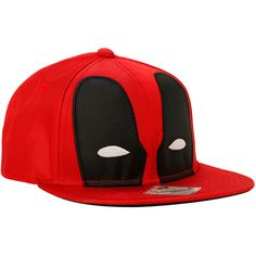 Marvel Deadpool Ballistic Mask Snapback Hat   Hot Topic ($36) ❤ liked on Polyvore featuring accessories, hats, avengers, acrylic hat, red hat, red snapback, red snapback hats and snap back hats