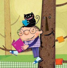 Readers: cat and kid / Lectura: niño y gato (ilustración de Hadiseh Ghorban)