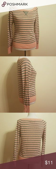 Pink/Grey Striped Sweater 51%cotton. 28%Rayon. 11% Polyester. 7%Metallic. 3%Spandex. heart n crush Sweaters