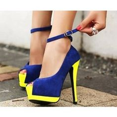 Classic Colorful Sexy Super Party Maid Ankle Strappy High Heels Women Shoes $24.50