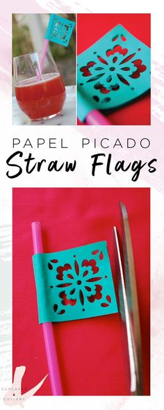How to make DIY papel picado straw flags. They are a great addition to your party decorations. You'll love these for Cinco de Mayo!