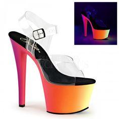 Pleaser Shoes RAINBOW-308UV Platform Heels Pole Dancing Stripper Clear Neon Sandals