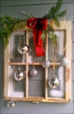 Christmas decor, I have the perfect window for this. it's a four pane dark green window.