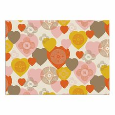 KESS InHouse Maike Thoma 'Retro Hearts Design' Orange Pink Dog Place Mat, 13' x 18' >>> See this awesome image  : Dog food container